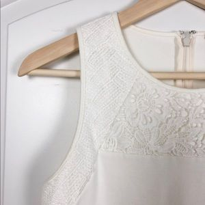 J. Crew mixed lace structured top